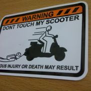 JDM Style Sticker warning dont touch scooter
